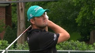 Marc Leishman nearly jars the cup on No. 16 at Crowne Plaza