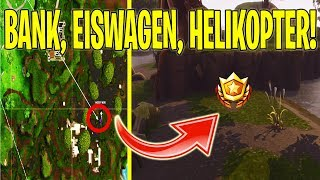 SEARCH BETWEEN A BANK, An EISWAGEN AND A HELICOPTER! | Fortnite | Battle Pass Week 4