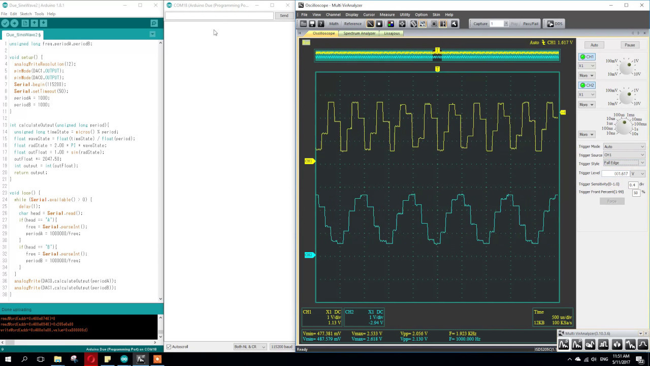 Arduino Due Dual Sine Wave Generator Test