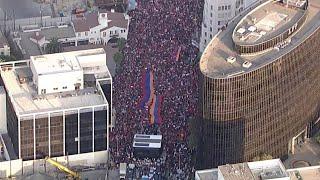 Protesters supporting Armenia in conflict with Azerbaijan march in LA   ABC7