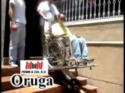 Oruga sube escaleras discapacitados youtube for Escalera discapacitados