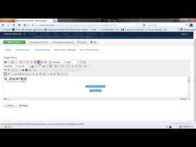 Créer un module de contenu personnalisé sous Joomla 3