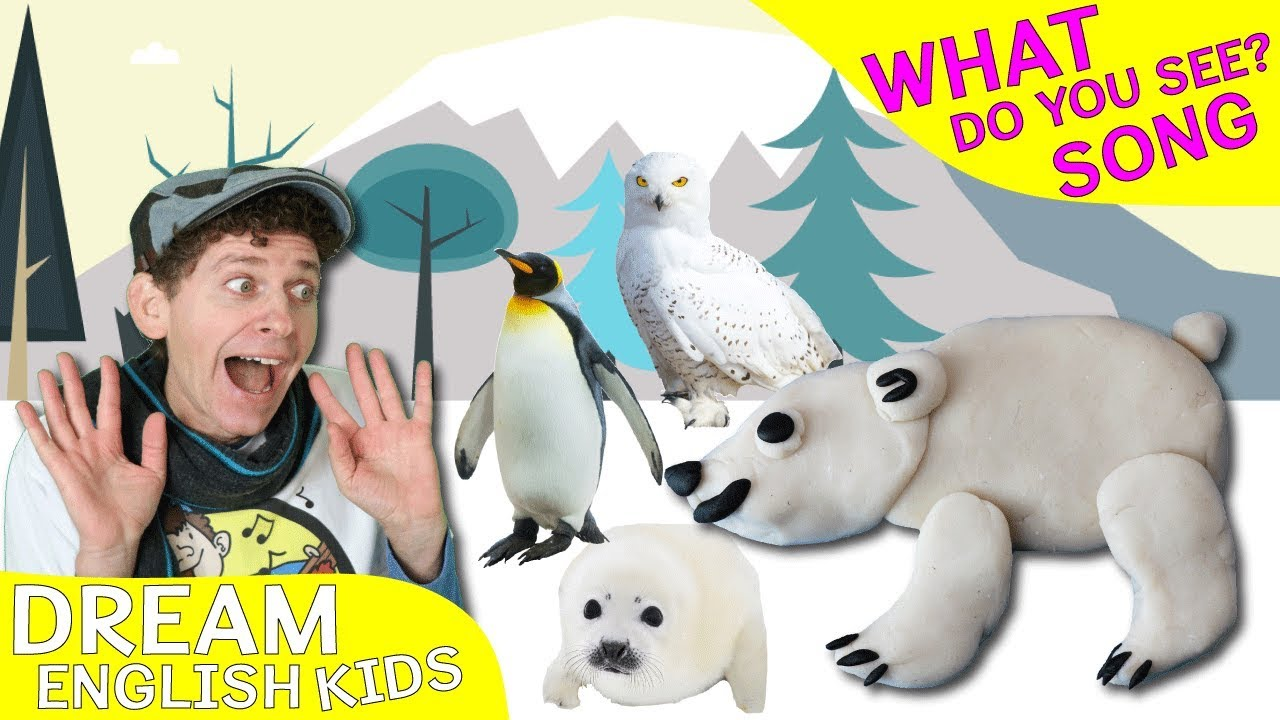 what do you see song winter wild animals learn english kids youtube