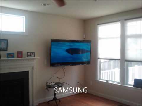 Wall Mount HDTV on Full Motion Mount
