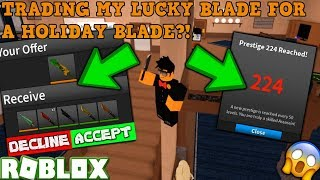 EQUAL VALUED TRADE FOR MY LUCKY BLADE! (ROBLOX ASSASSIN PRO SERVER GAMEPLAY) *HITTING PRESTIGE 224!*
