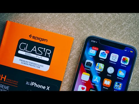 sale retailer b4eb3 24c95 Spigen iPhone X Screen Protector Tempered Glass Unboxing & Review ...