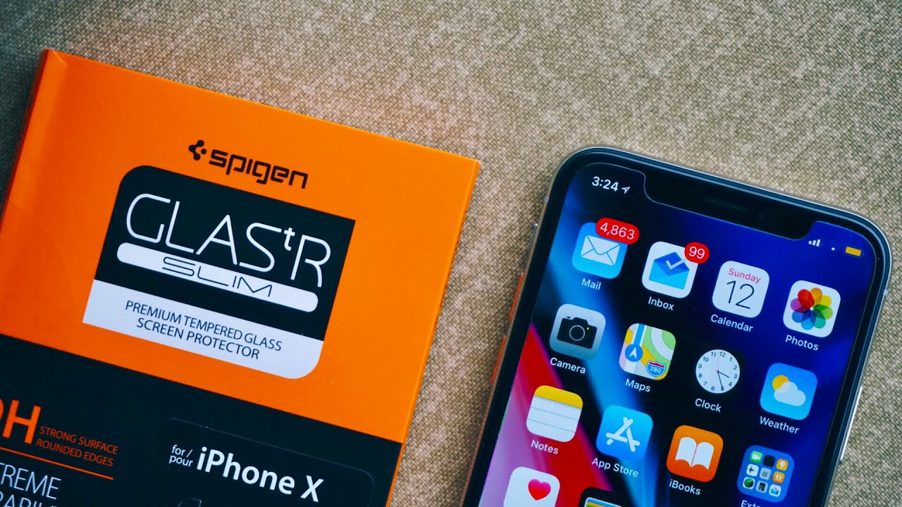 quality design f374a b4e05 Spigen iPhone X Screen Protector Tempered Glass Unboxing & Review