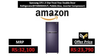 Samsung 275 L 3 Star Frost Free Double Door Refrigerator(RT30M3043UT, Pebble blue)