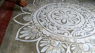 very very easy and beautiful alpona (rangoli) design by deepika das