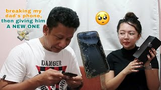 BREAKING MY DAD's PHONE, THEN GIVING HIM A NEW ONE | Philippines
