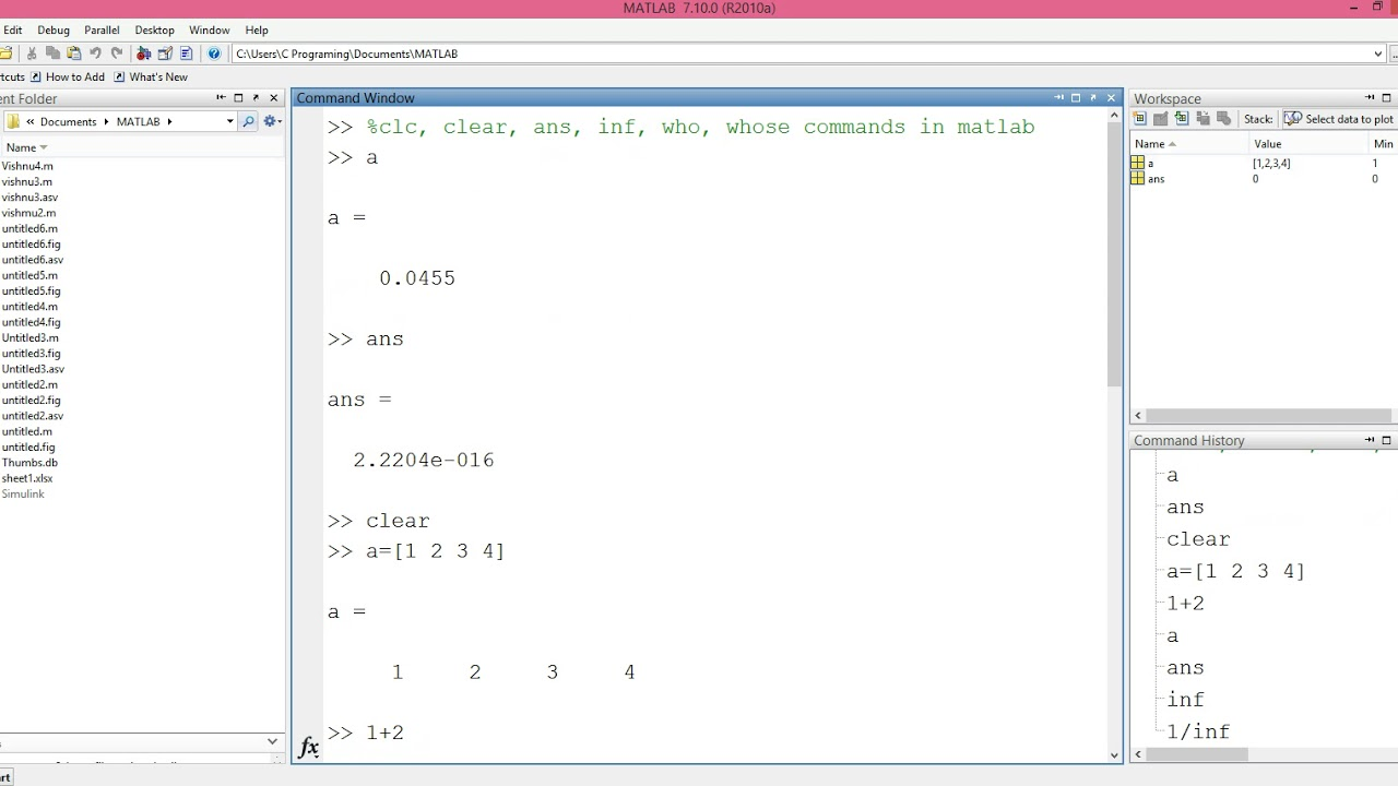 20-who,whos,clc,clear,ans,inf Commands in matlab