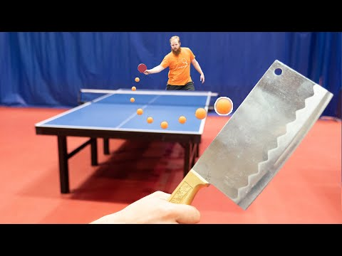 Play Table Tennis with a KNIFE I Challenge Pongfinity Ep. 8