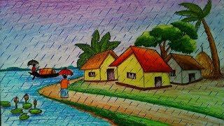 How to draw scenery of rainy season.Step by step(easy draw)