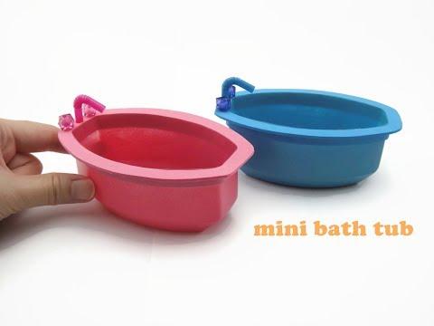 DIY Miniature Doll Mini Bathroom Bath Tub - Very Easy!