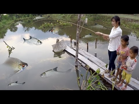 Khmer Girl Fishing At Siem Reap Cambodia  -Cambodia Traditional Fishing