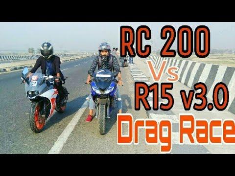 R15 v3 vs Rc 200 Drag Race   Top End   Highway Battle