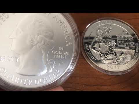 2017 ATB 5oz 999 silver  Ellis Island, P and Bullion version