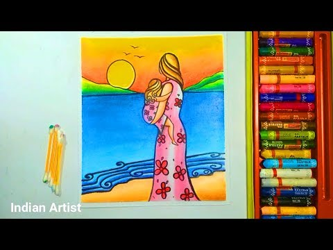 mother-and-daughter-painting-by-the-sea-with-oil-pastel-color-//-island-life-drawing-for-beginners.