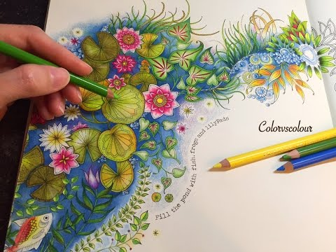 SECRET GARDEN | The Magical Water Lily Pond | Coloring With Colored Pencils
