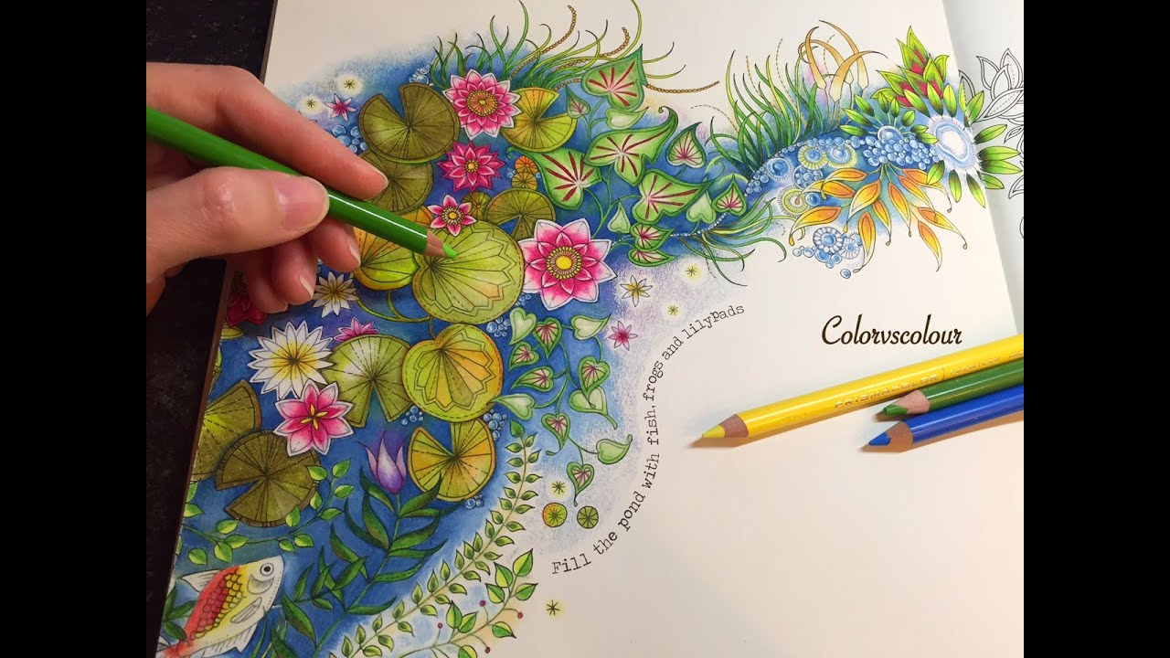 Secret Garden The Magical Water Lily Pond Coloring With Colored Pencils Youtube