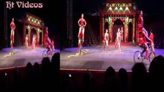 Chinese circus -  The show of girl gymnasts on bicycles