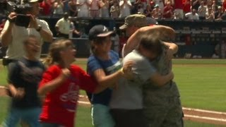 Master Sgt. Dave Sims surprises family at Turner Field