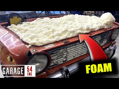 Filling the engine bay with construction foam