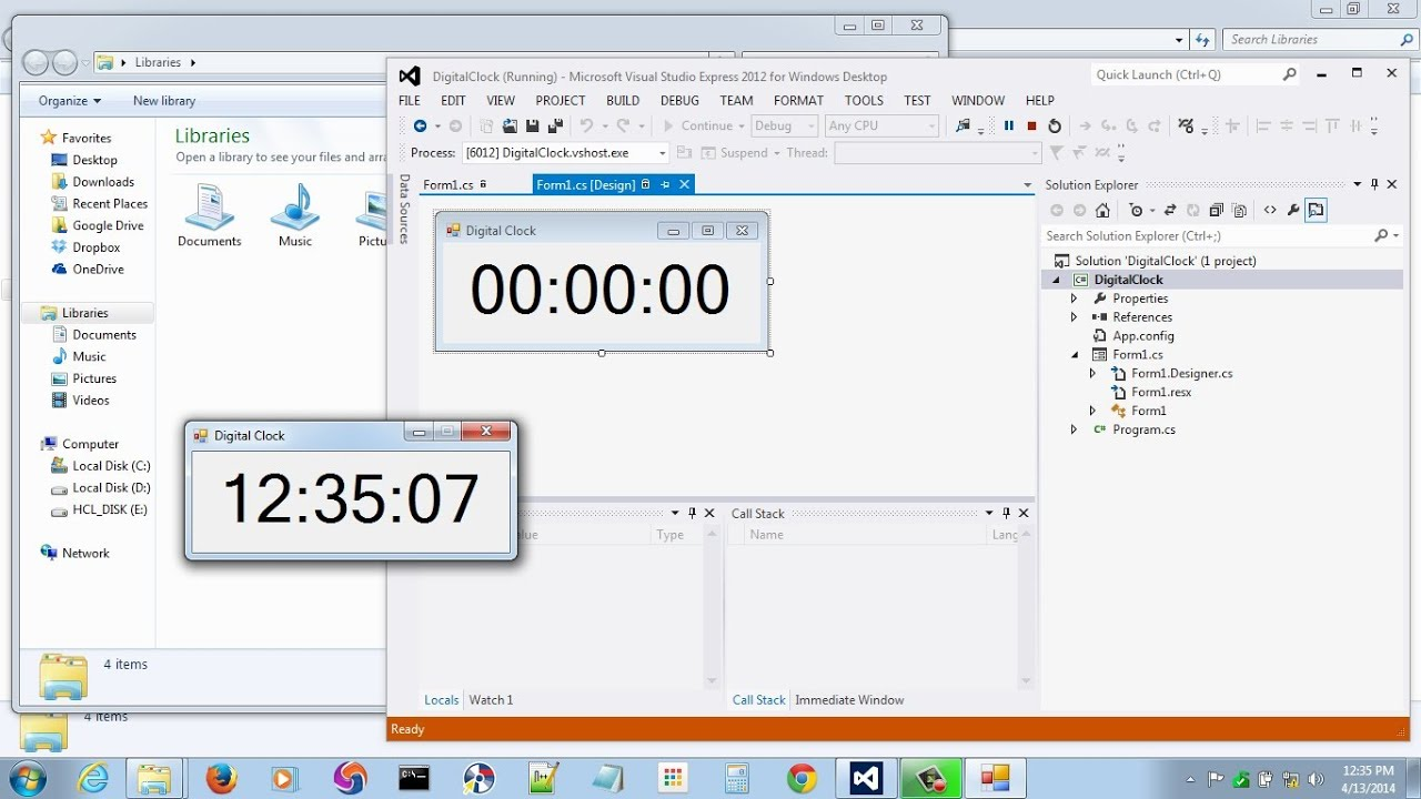 Visual Studio | Digital Clock in C#