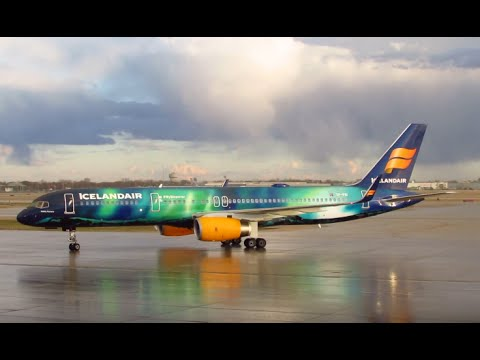 Icelandair Inaugural Arrival - O'Hare Airport Water Cannon Salute - Hekla Aurora TF-FIU [03.16.2016]