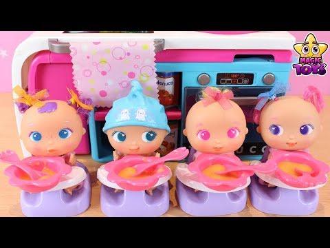 RUTINA DE MAÑANA de los Bebés Hermanitos Traviesos MINI BELLIES Comen su PRIMERA PAPILLA