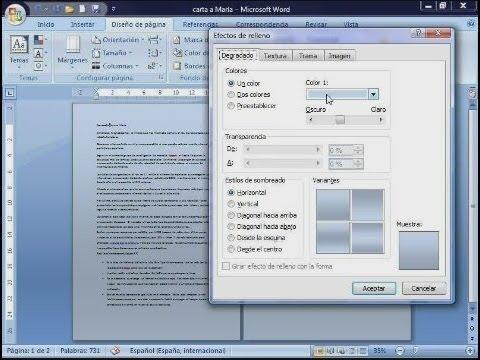 Cómo poner fondo a un documento en Word - YouTube