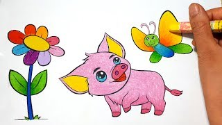 Coloring a Pig and Butterfly    Draw For Kids