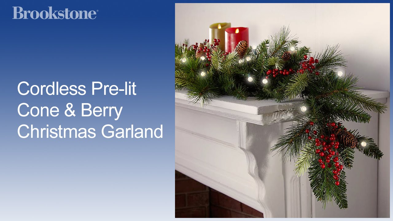 cordless pre lit cone berry christmas garland