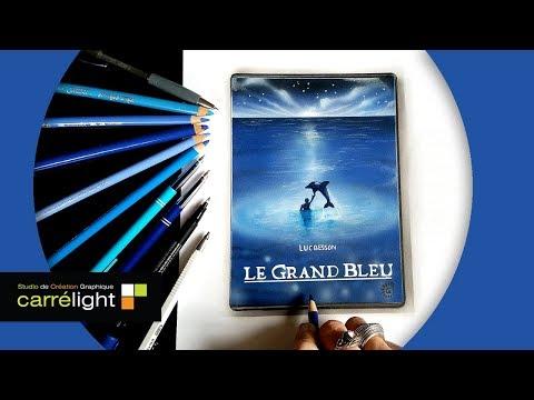 luc-besson---film-le-grand-bleu---dessin-du-dvd-/-affiche