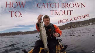 How to catch brown trout from a kayak!