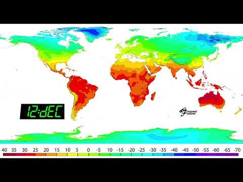 temperature map of world World Average Monthly Temperatures Map Youtube