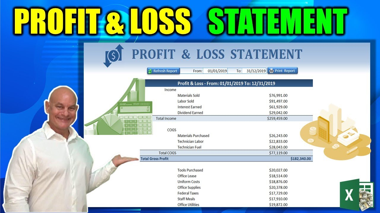 excel profit and loss statement