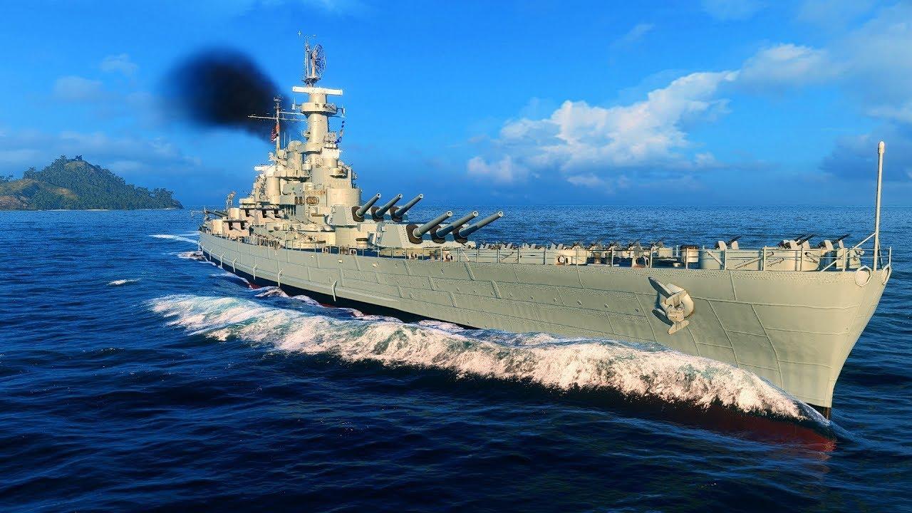 World of Warships Blitz - US Battleship North Carolina Gameplay - YouTube