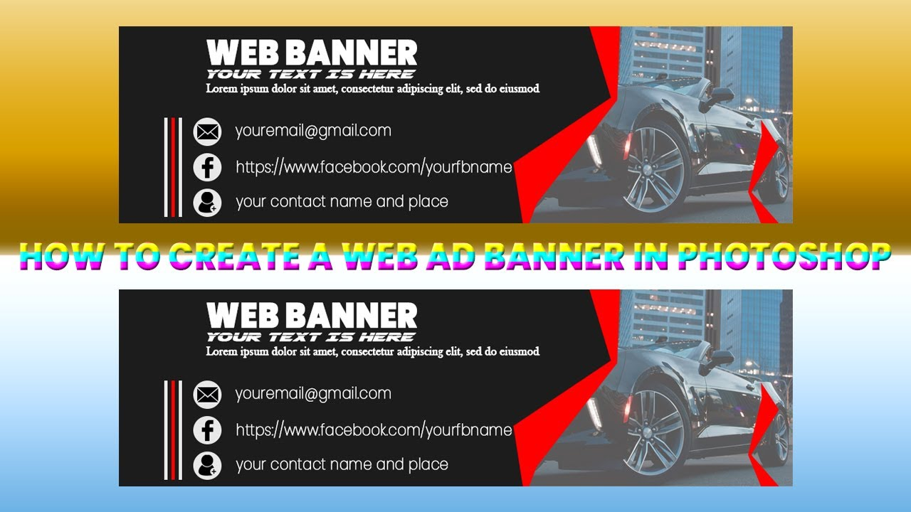 How to create a web ad Banner in Photoshop । Photoshop Tutorial । web AD Banner tutorial