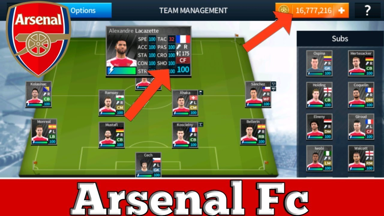 big sale fb34e b3ac0 Dream League Soccer 2018 Mega Mod All Arsenal Players 100 + Unlimited Coins