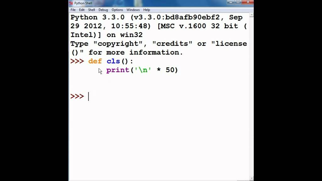 Python clear screen function