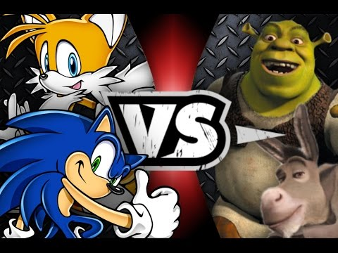 SONIC and TAILS vs SHREK and DONKEY Awesome Cartoon Battles #16