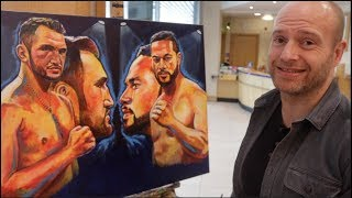 BRILLIANT!! JOSEPH PARKER v HUGHIE FURY COMMEMORATED WITH ONE OFF PATRICK KILLIAN PAINTING!