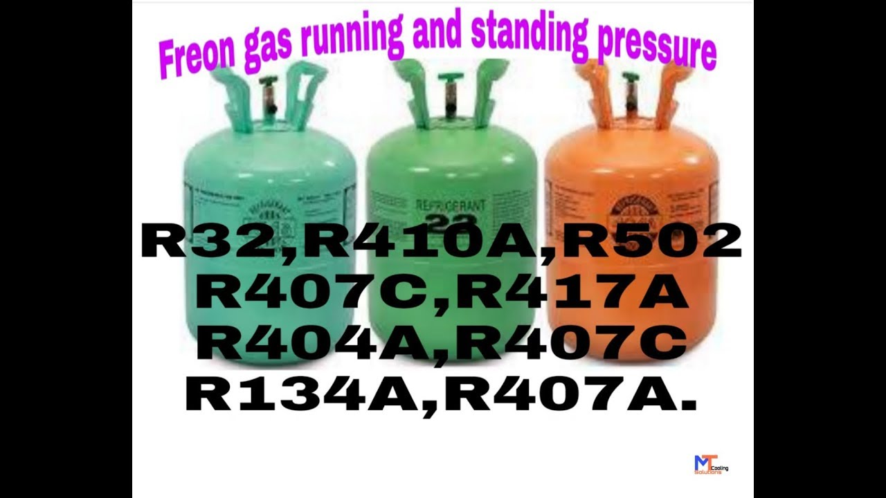 Freon gas standing and working pressure( R32, R410A, R502,R407C