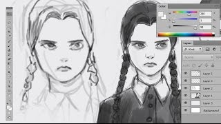 MedSketch 5 - Drawing Wednesday Addams