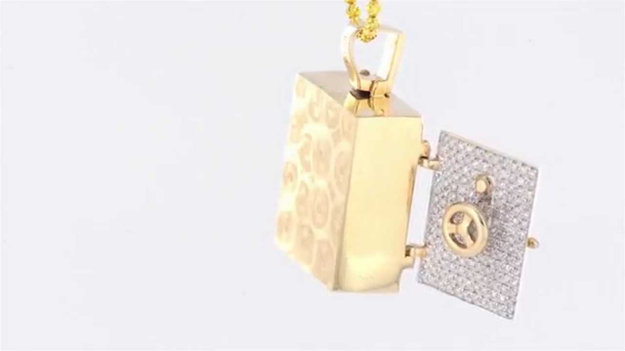 Custom 10k real gold real diamond solid bar safe locker pendant custom 10k real gold real diamond solid bar safe locker pendant aloadofball Image collections