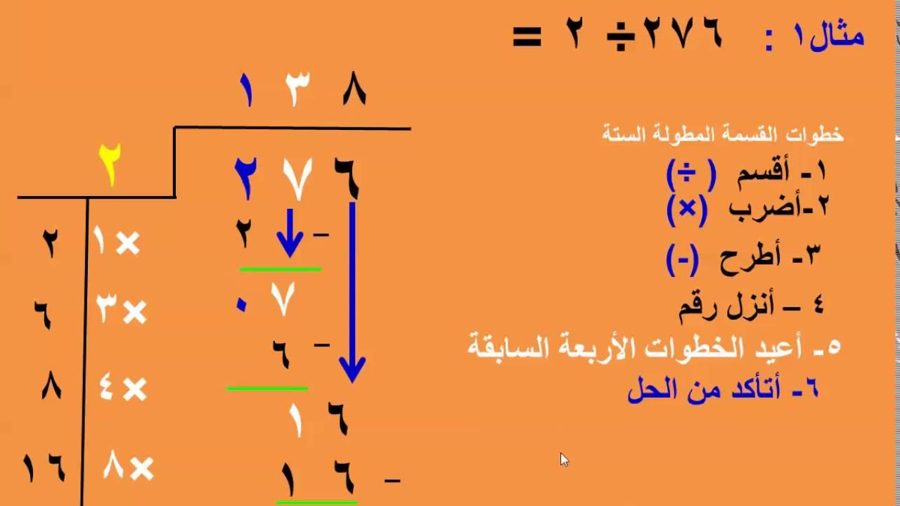 القسمة المطولة الجزء الثالث للأستاذ حمدي يوسف معارك Youtube