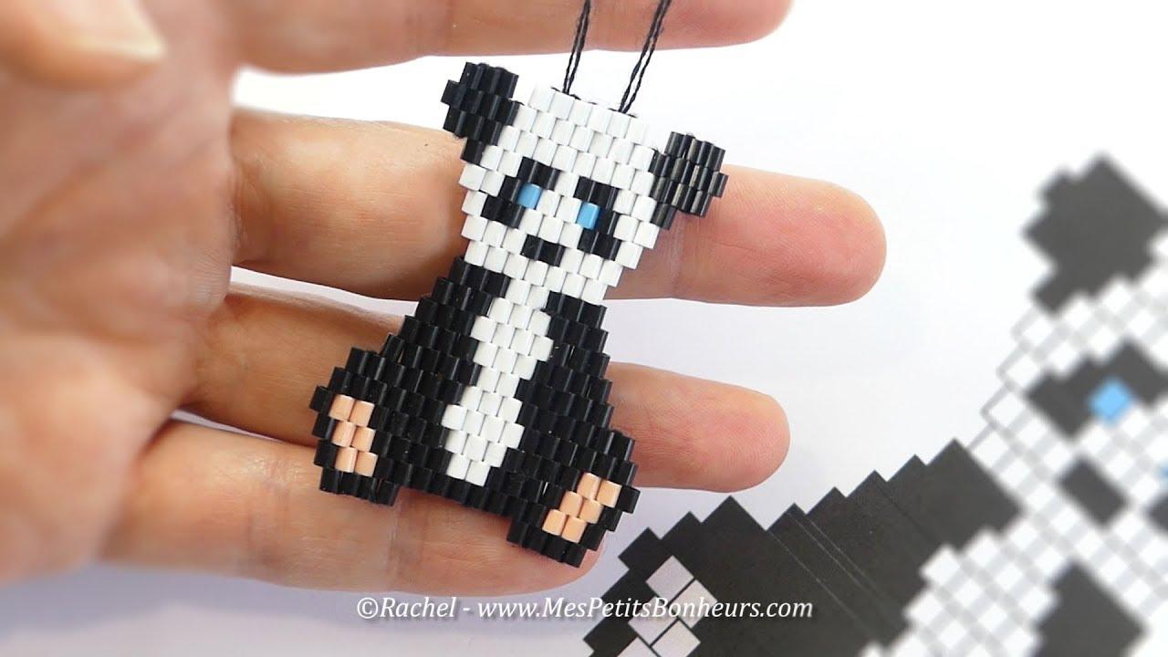 DIY - Pendentif Bébé PANDA en perles Hama Tissage Brick Stitch - YouTube