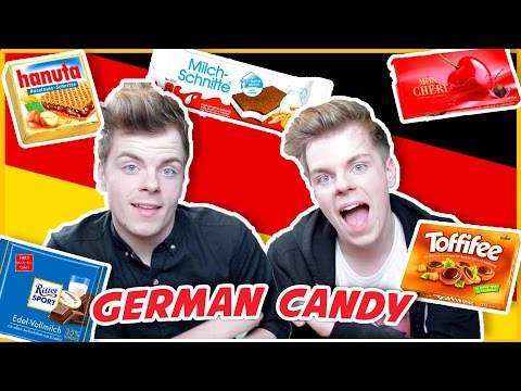 BRITISH TWINS TRY GERMAN CANDY FOR THE FIRST TIME | NikiNSammy