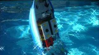 Lego Cargo Ship on a pool